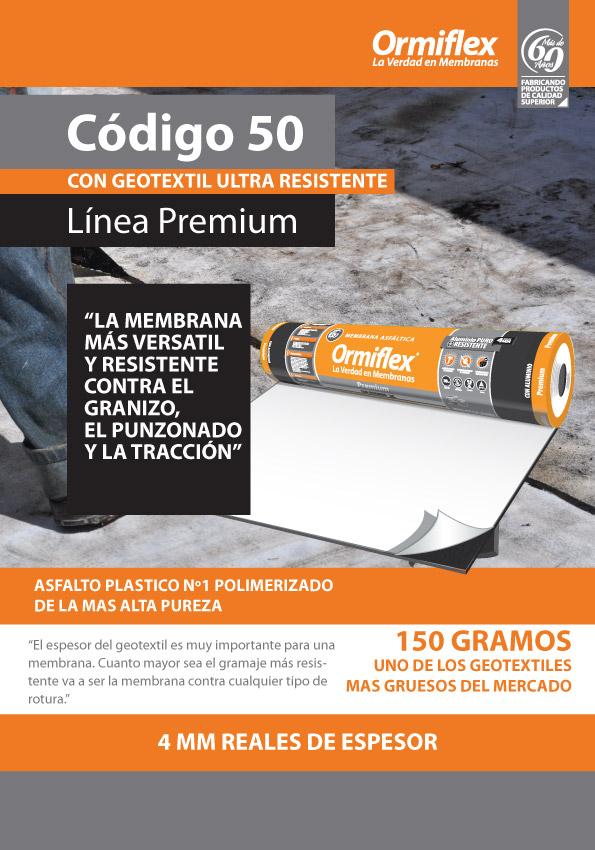 membrana asfaltica con geotextil ormiflex codigo 50
